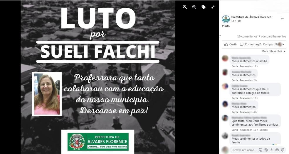 Prefeitura de Álvares Florence lamenta morte de professora por Covid-19 — Foto: Reprodução