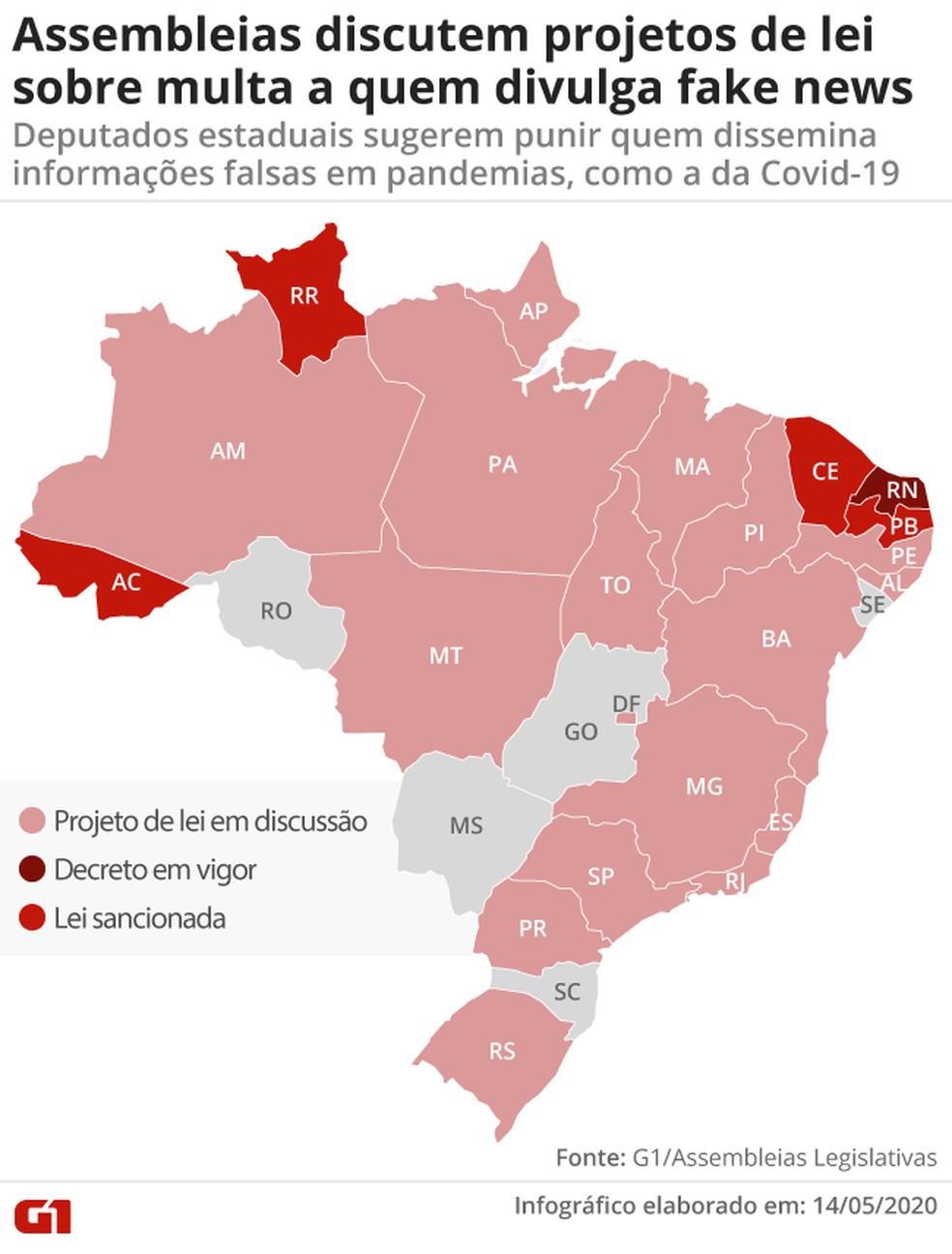 Assembleias discutem projetos de lei sobre multa a quem divulga fake news — Foto: Cido Gonçalves/G1