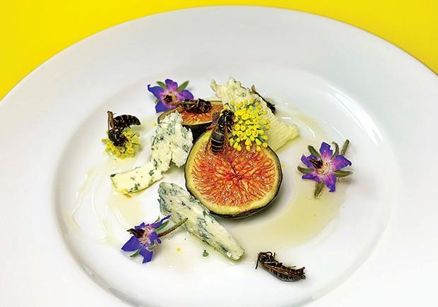 Gastronomia: Aceita? Prato de vespas, figo, flores e queijo. (Foto: divulgação)