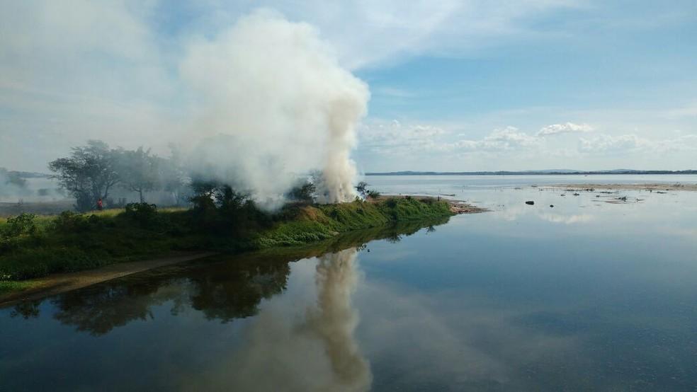 Fogo iniciou por volta das 15h em vegetação próxima da orla do Guaíba (Foto: Paulo Ledur/RBS TV)