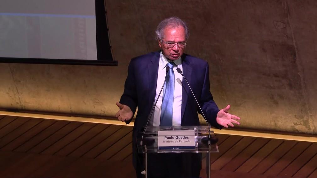 Paulo Guedes em evento no Rio de Janeiro nesta sexta-feira (7) — Foto: Reprodução