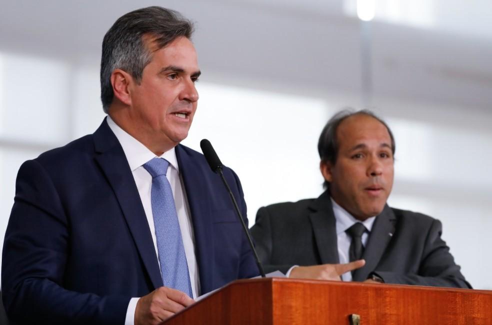 Ciro Nogueira discursa no Palácio do Planalto como novo ministro da Casa Civil — Foto: Isac Nóbrega/PR