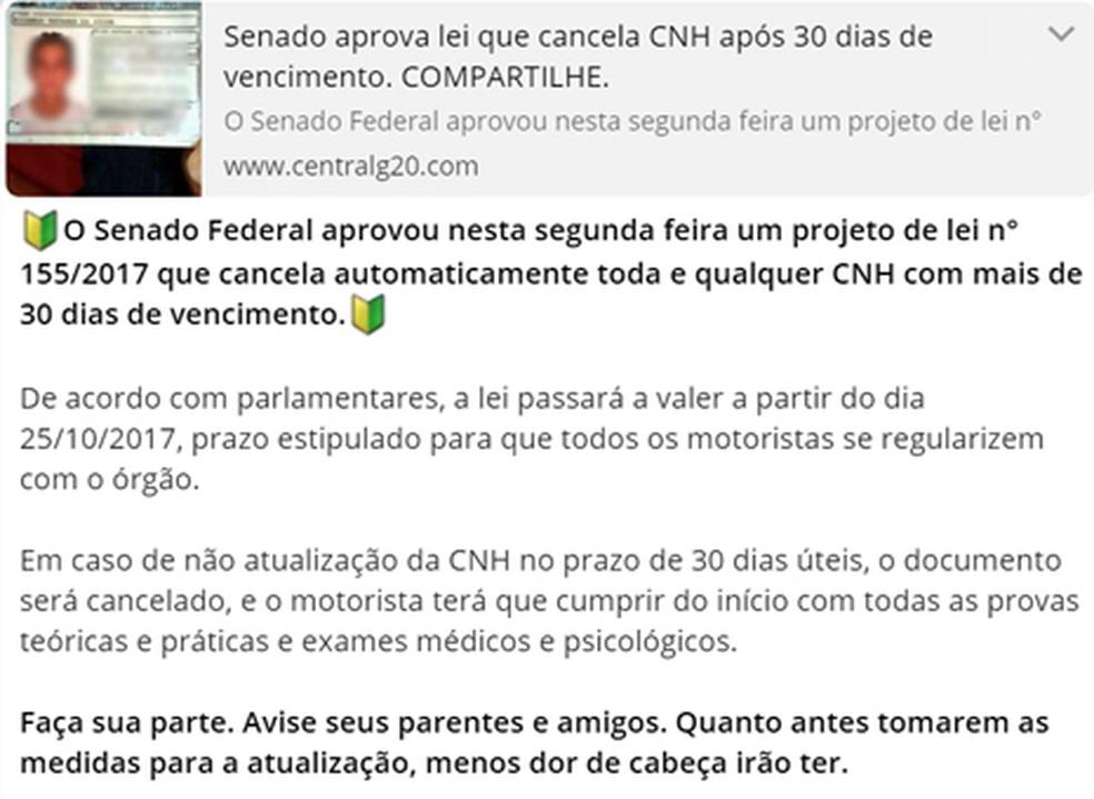 Falsa notícia fala de lei aprovada sobre CNH (Foto: Reprodução/ WhatsApp)