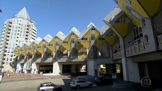 Inspiradas na natureza, casas em forma de cubo são atração em Roterdã, na Holanda