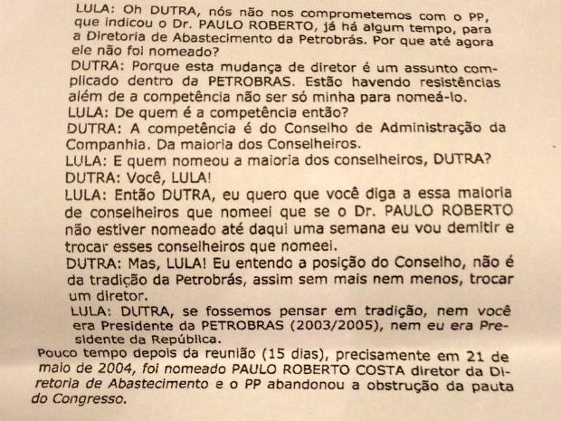 Trecho da delação de Pedro Corrêa mostra influencia de Lula na nomeação de Paulo Roberto Costa na Petrobras (Foto: Reprodução)