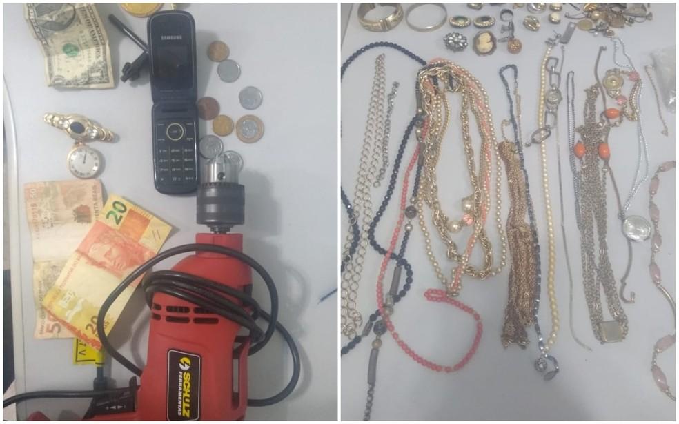 Objetos roubados de idoso amarrado encontrado morto em casa foram apreendidos pela Polícia Militar em Bariri — Foto: Polícia Militar/Divulgação