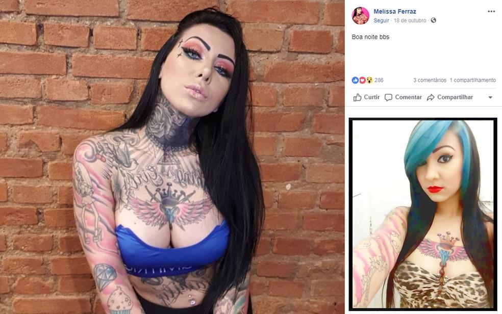 Melissa Ferraz em foto atual e em foto de 2013, no detalhe — Foto: Reprodução/Facebook/Melissa Ferraz