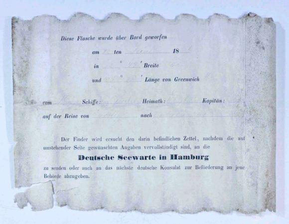 Cópia da mensagem encontrada dentro da garrafa. (Foto: Western Australian Museum)