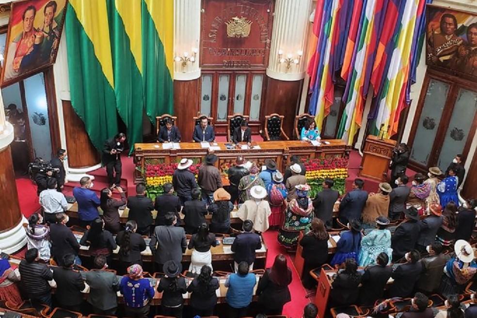 Assembleia Legislativa da Bolívia durante posse do presidente Luis Arce — Foto: AFP