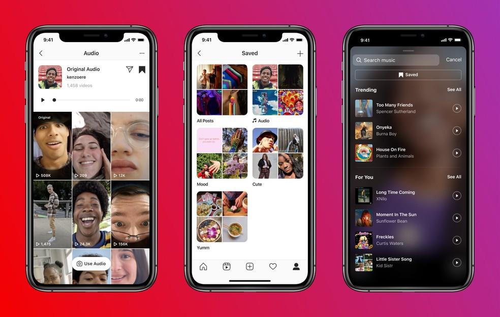 Novas páginas de áudios do Instagram permitem usar músicas de outras pessoas para criar Reels, salvar e compartilhar sons — Foto: Divulgação/Instagram