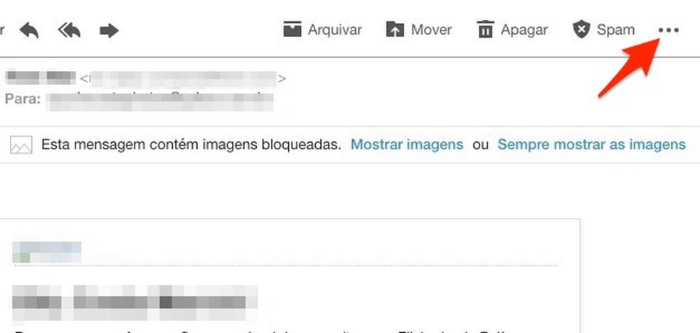 Ação para verificar configurações extras para um e-mail recebido no Yahoo Mail — Foto: Reprodução/Marvin Costa