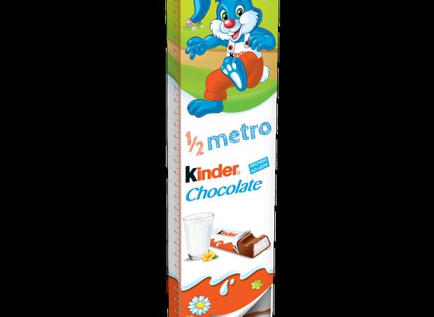 Kinder Chocolate ½ metro I São 24 tabletes (300g no total) de chocolate ao leite, sem corantes e conservantes, reunidos em uma embalagem de 50cm feita para compartilhar I Da Kinder, R$29,99 (Foto: Divulgação)