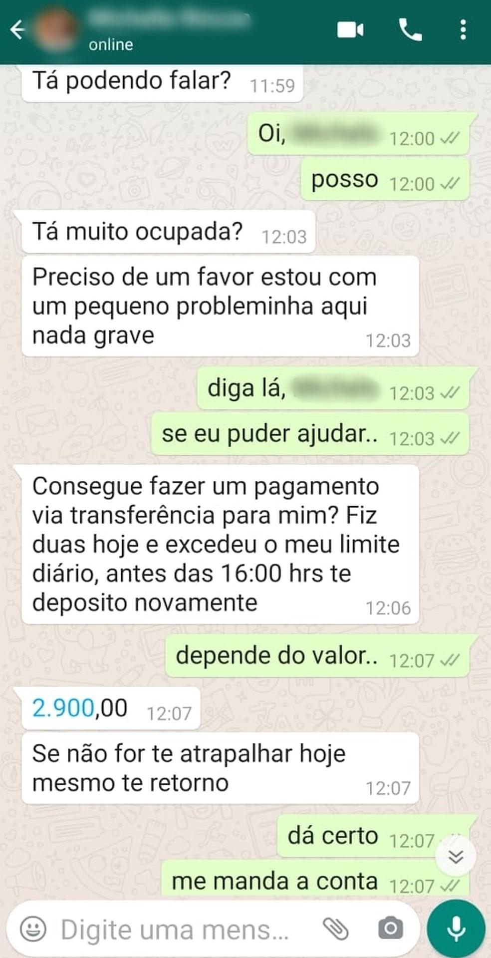 Após ter acesso a Whatsapp de jornalista, golpista pediu dinheiro a amigos dela, no RN. — Foto: Reprodução
