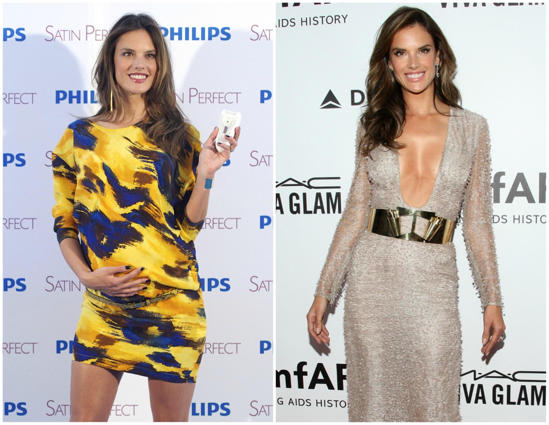 Alessandra Ambrósio em março de 2012 (à esq.) e em dezembro de 2013. A top model brasileira deu à luz o seu primeiro menino, Noah Phoenix, em 7 de maio de 2012. (Foto: Getty Images)