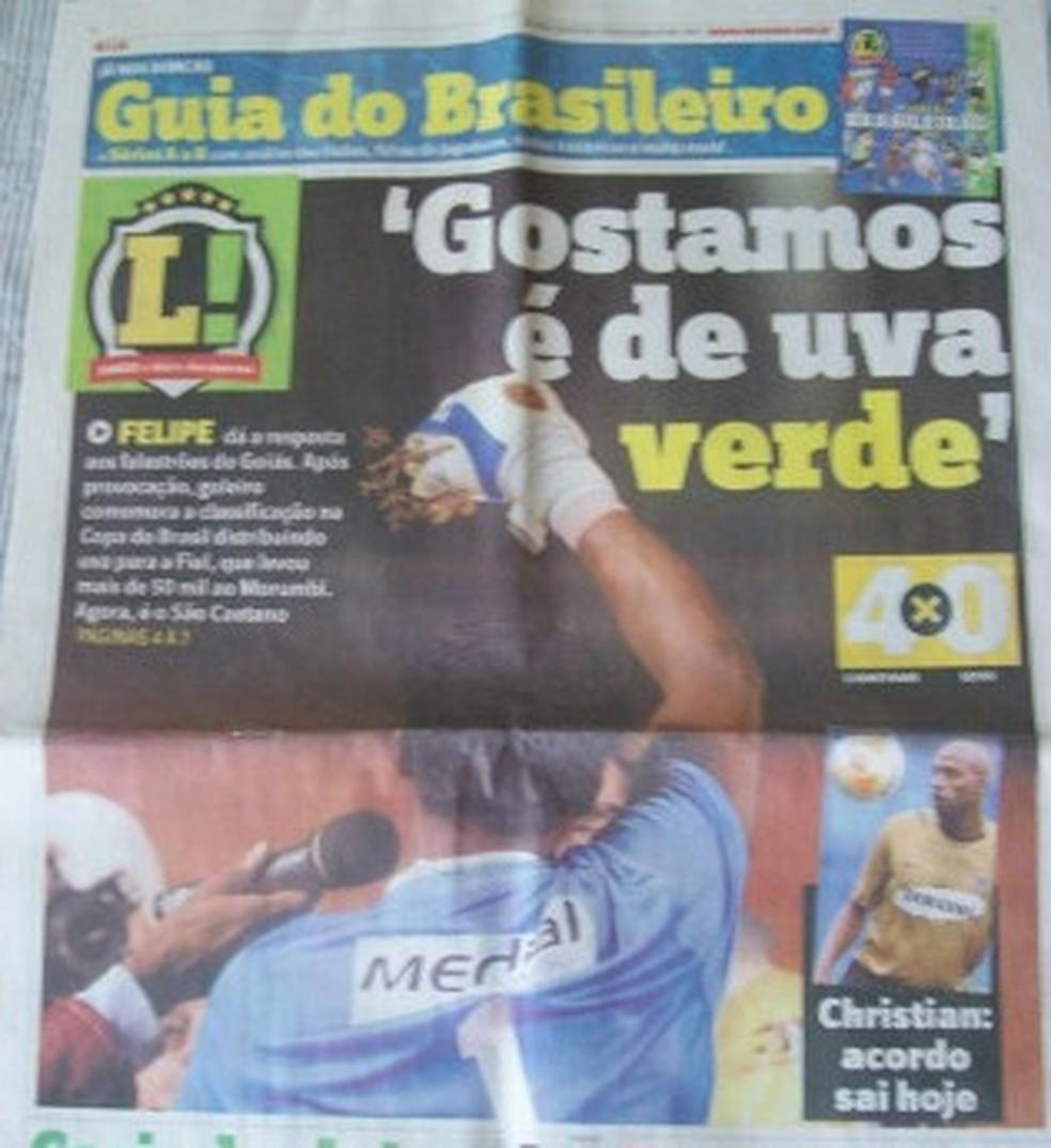 Reprodução do jornal Lance em 2008: festa da uva do Corinthians — Foto: Reprodução