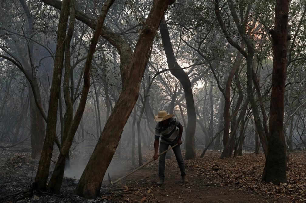 Dorvalino Conceição Camargo, de 56 anos, tenta apagar um incêndio em uma fazenda perto de onde trabalha no Pantanal — Foto: Amanda Perobelli/Reuters