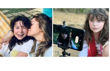 Aos 9 anos, Stella, filha de Letícia Spiller, estreará como atriz interpretando a mãe na infância no filme 'Enquanto seu lobo não vem', de Jorge Farjalla. O curta é rodado na quarentena Acervo pessoal
