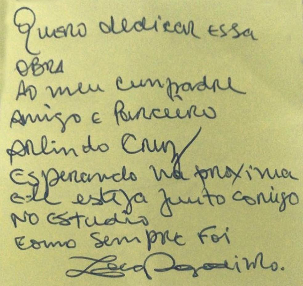Dedicatória de Zeca Pagodinho para Arlindo Cruz — Foto: Reprodução / Facebook Zeca Pagodinho