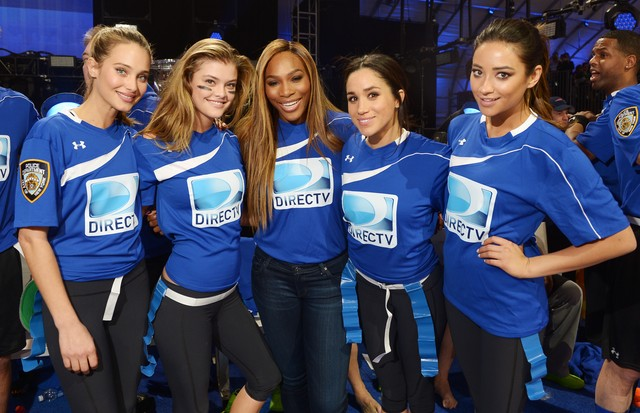 Hannah Davis, Nina Agdal, Serena Williams, Meghan Markle e Shay Mitchell, em 2014 (Foto: Getty Images)