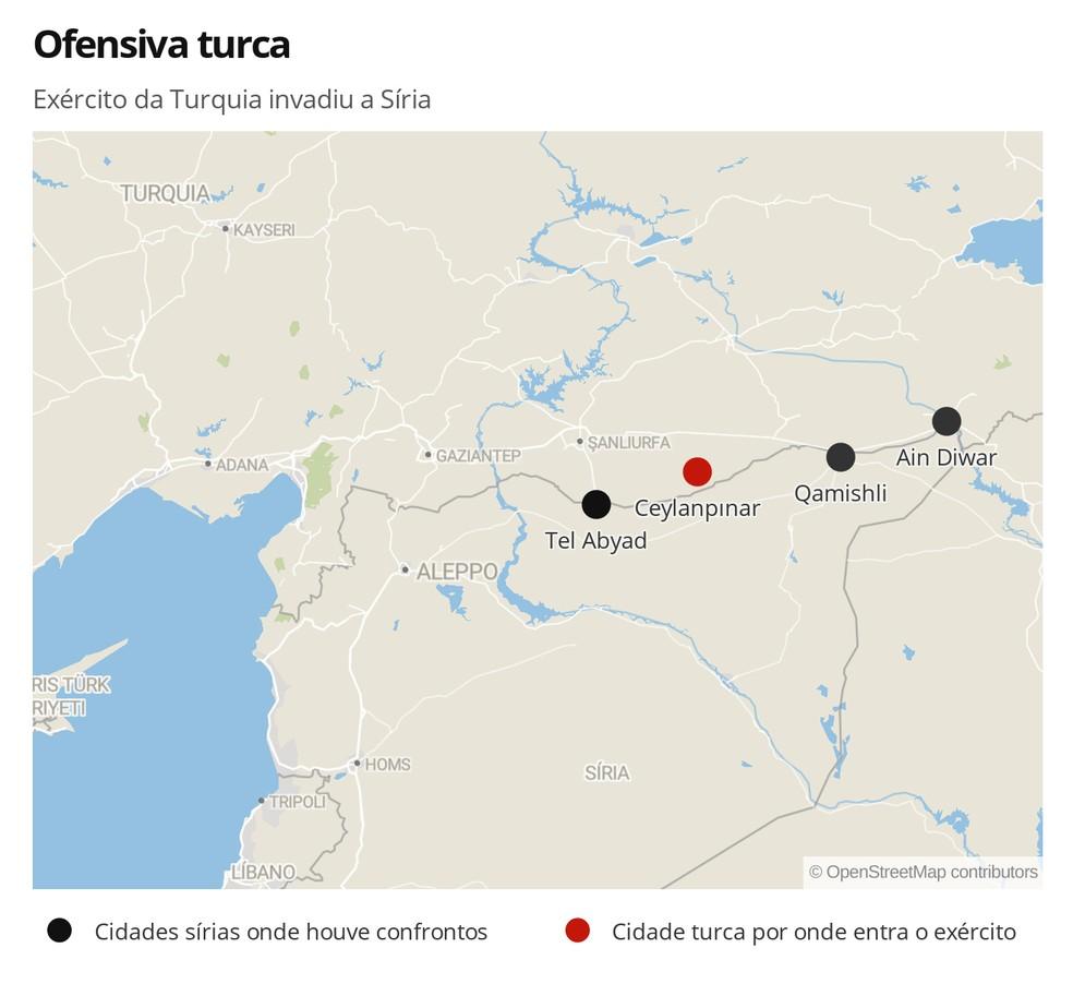 Ofensiva turca na Síria — Foto: Mundo/G1