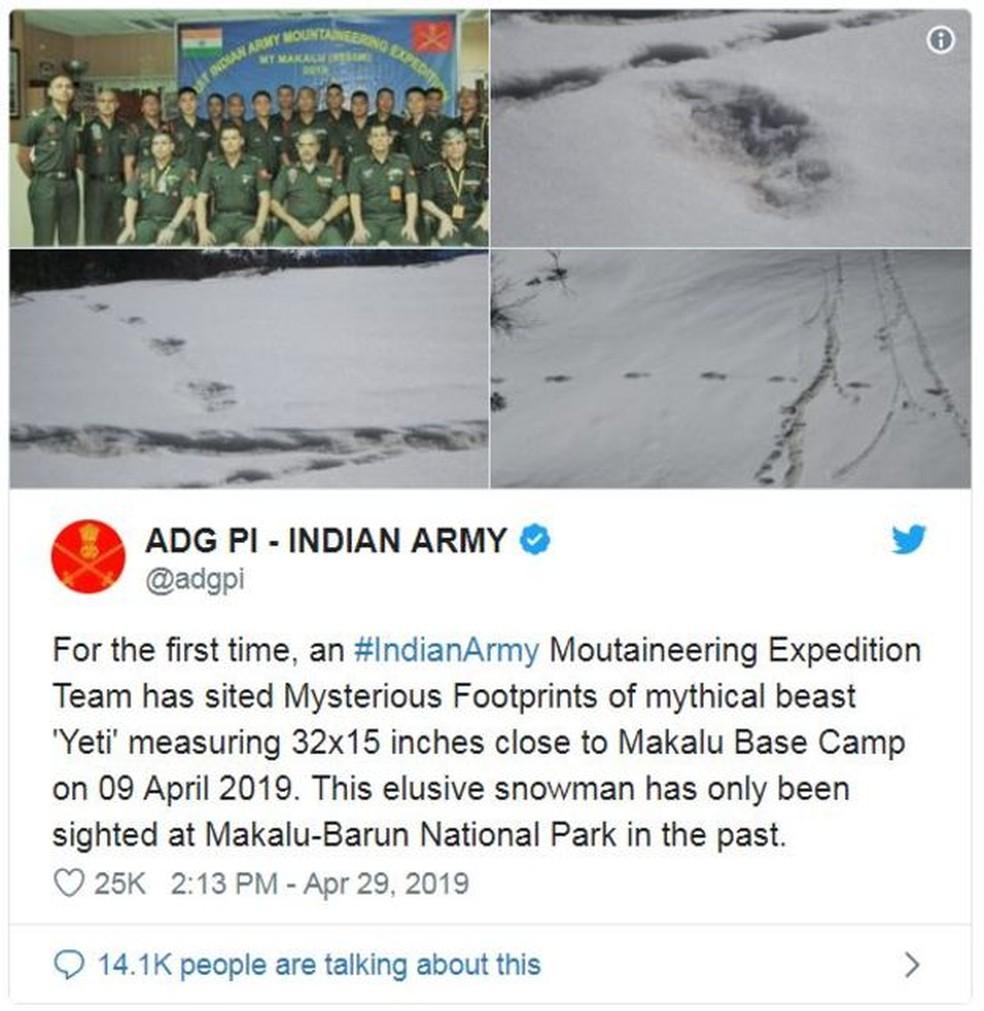 'Pela primeira vez, uma expedição do #Exército Indiano encontrou misteriosas pegadas da besta mítica 'Yeti', medindo 81 por 38 centímetros', diz o tuíte — Foto: Reprodução/Twitter/Exército Indiano