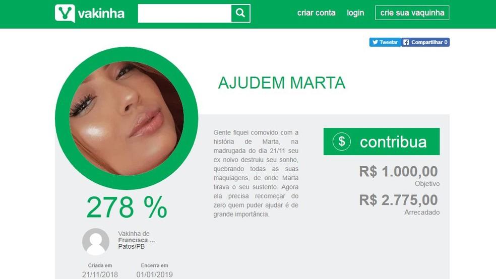 Vaquinha online foi criada por pessoas que Marta não conhecia, em Patos — Foto: Reprodução/Vakinha