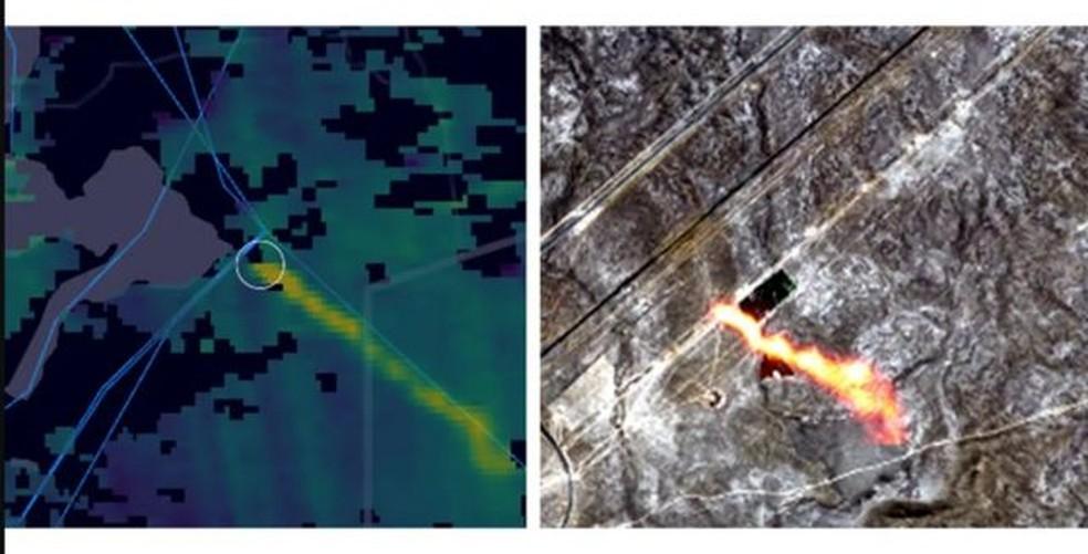 Satélites detectaram vazamentos de metano em todo o mundo, incluindo em tubulações de gás em países como o Cazaquistão — Foto: COPERNICUS/KAYRROS