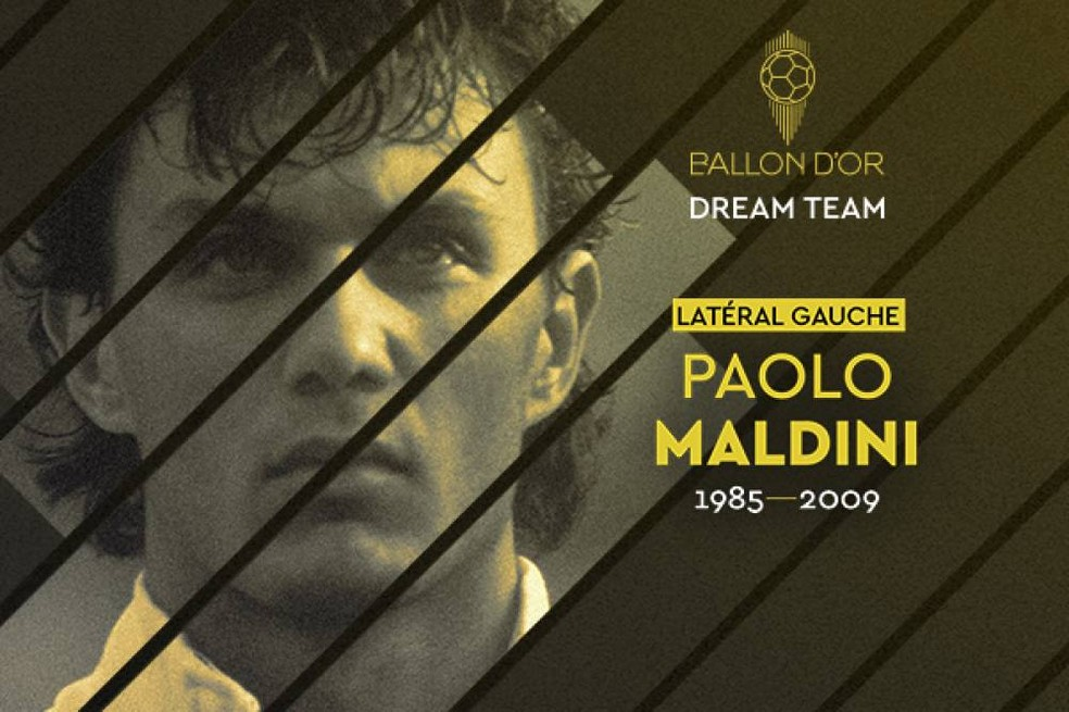 Maldini foi eleito para o Dream Team da Bola de Ouro — Foto: France Football