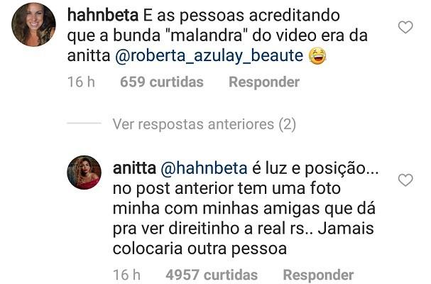 Anitta responde seguidora (Foto: Instagram/Reprodução)