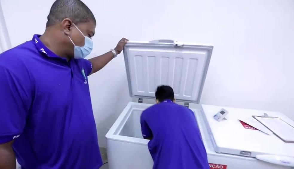 As doses da vacina da Pfizer precisam ser armazenadas em caixas com temperaturas entre -25°C e -15°C por, no máximo, 14 dias — Foto: Reprodução/TV Globo