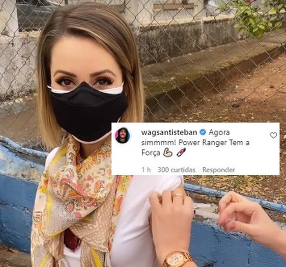 Sandy é vacinada contra Covid-19 e Wagner Santisteban faz comentário divertido — Foto: Reprodução / Instagram