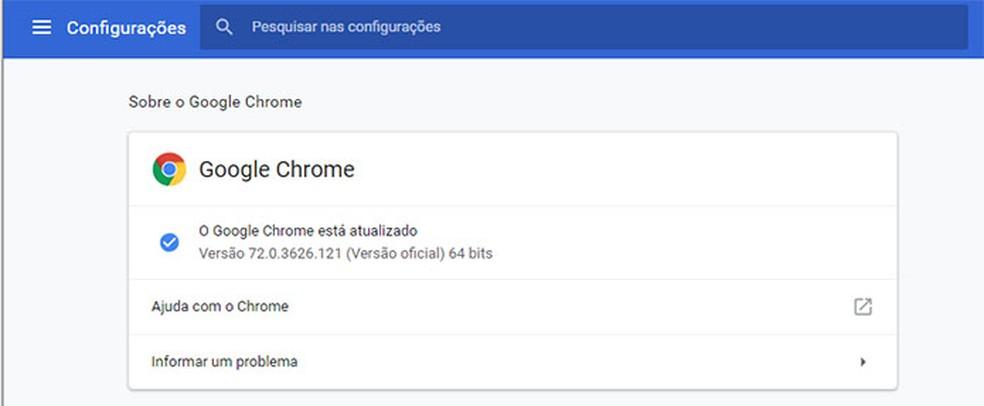 Página de configuração do Google Chrome informa versão instalada e atualiza o navegador se uma versão mais recente estiver disponível — Foto: Reprodução