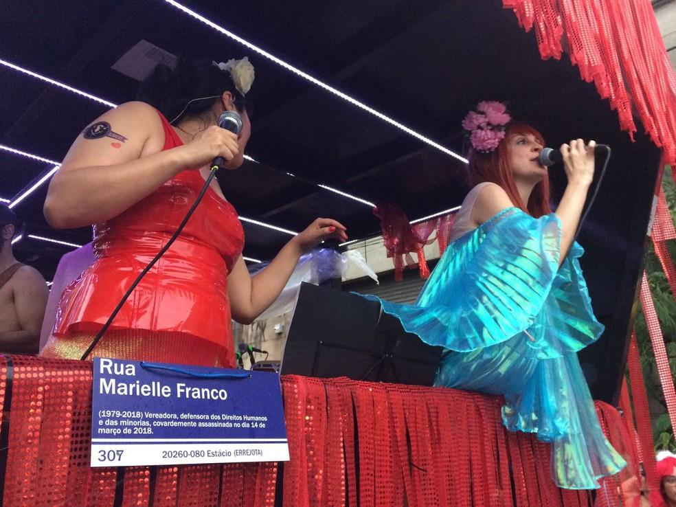 Ritaleena também homenageou Marielle Franco, vereadora do Rio de Janeiro assassinada no ano passado. — Foto: G1 São Paulo