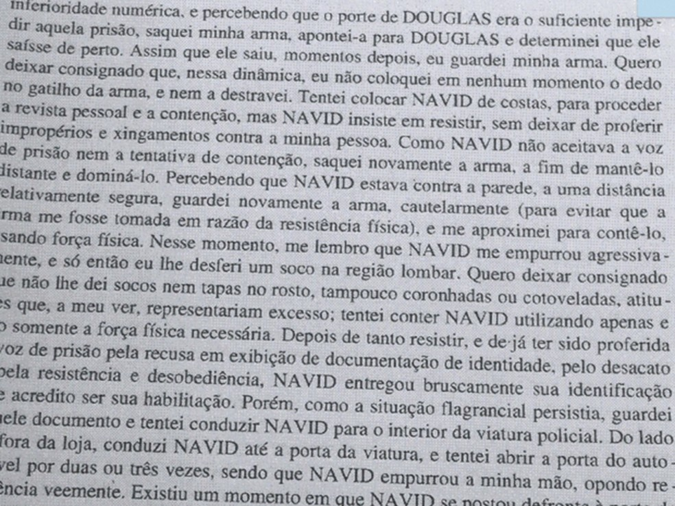 Trecho de depoimento do policial José Camilo Leonel — Foto: Reprodução