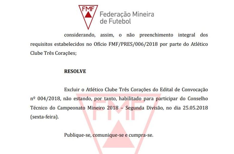 Atlético Três Corações foi excluído da Segunda Divisão do Mineiro (Foto: Reprodução site FMF)