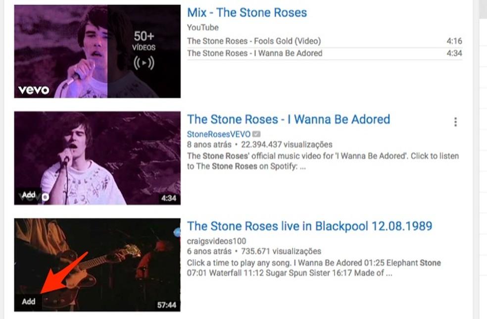 Ação para adicionar vídeos do YouTube na lista da extensão YouTube Real Time Playlist (Foto: Reprodução/Marvin Costa)