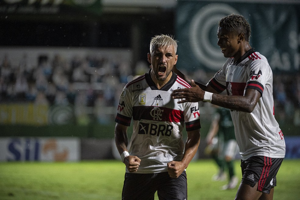Arrascaeta comemora gol pelo Flamengo — Foto: Alexandre Vidal / Flamengo