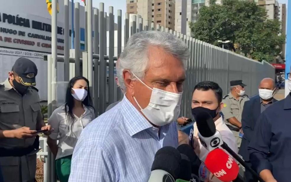 Governador Ronaldo Caiado comenta sobre liberação das vacinas contra Covid-19 — Foto: Lis Lopes/G1