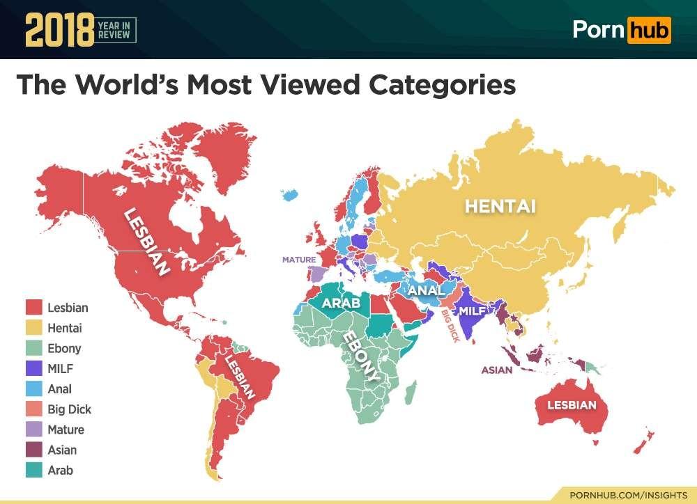 Os termos mais pesquisados em cada país (Foto: Pornohub)
