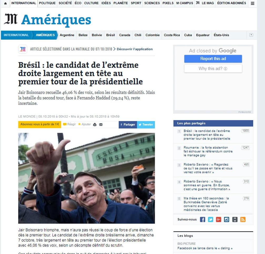 """Jornal francês """"Le Monde"""" repercute liderança de Jair Bolsonaro no primeiro turno das eleições no Brasil — Foto: Reprodução/Le Monde"""