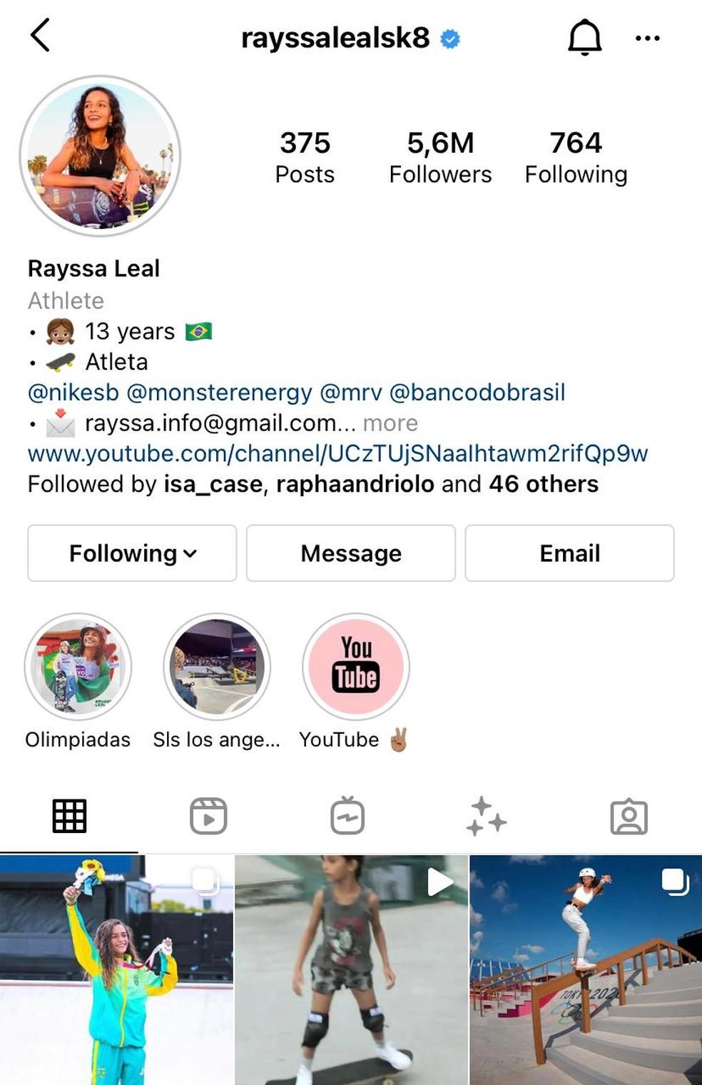 Rayssa Leal ultrapassa os 5,5 milhões de seguidores no Instagram  — Foto: Reprodução