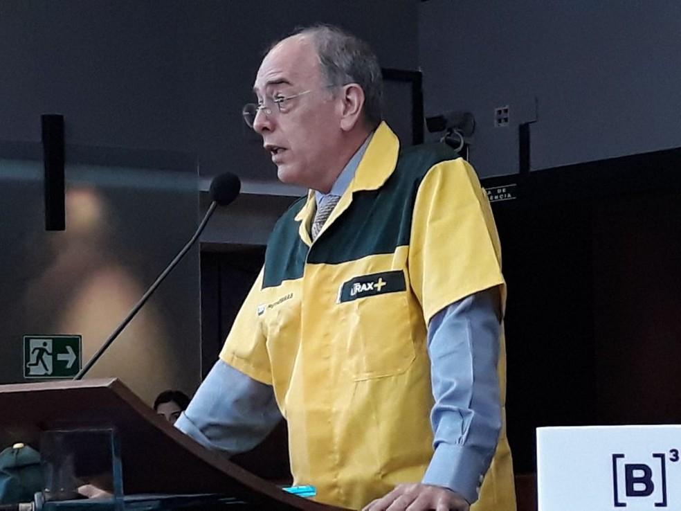 O presidente da Petrobras, Pedro Parente, durante a cerimônia de abertura de capital da BR em 15 de dezembro de 2017 (Foto: Taís Laporta/G1)