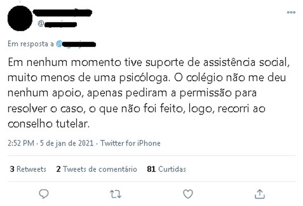Aluna denuncia assédio sofrido por professor dentro de sala de aula em Belém e diz que colégio não a deu suporte psicológico — Foto: Reprodução/Twitter