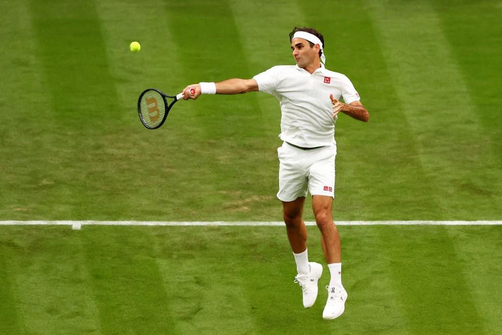 Federer em Wimbledon 2021 — Foto: Julian Finney / Getty Images