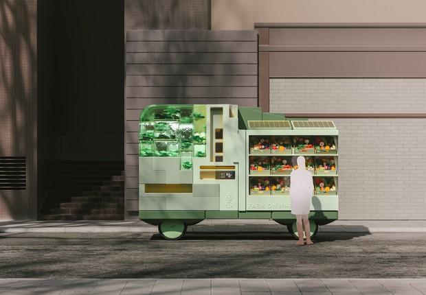 """Uma """"fazenda móvel"""" poderá democratizar o acesso a alimentos frescos e saudáveis no futuro (Foto: Space 10)"""