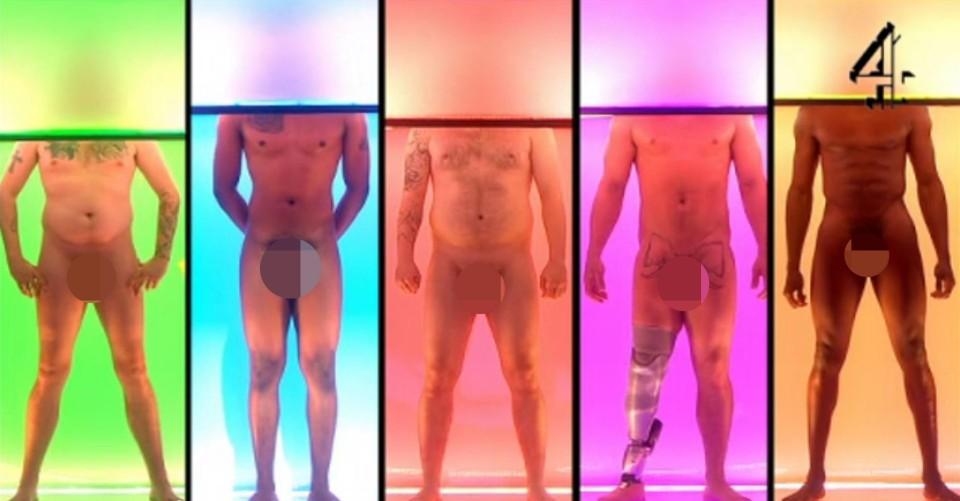 Candidatos exibem nu frontal em estúdio do Channel 4