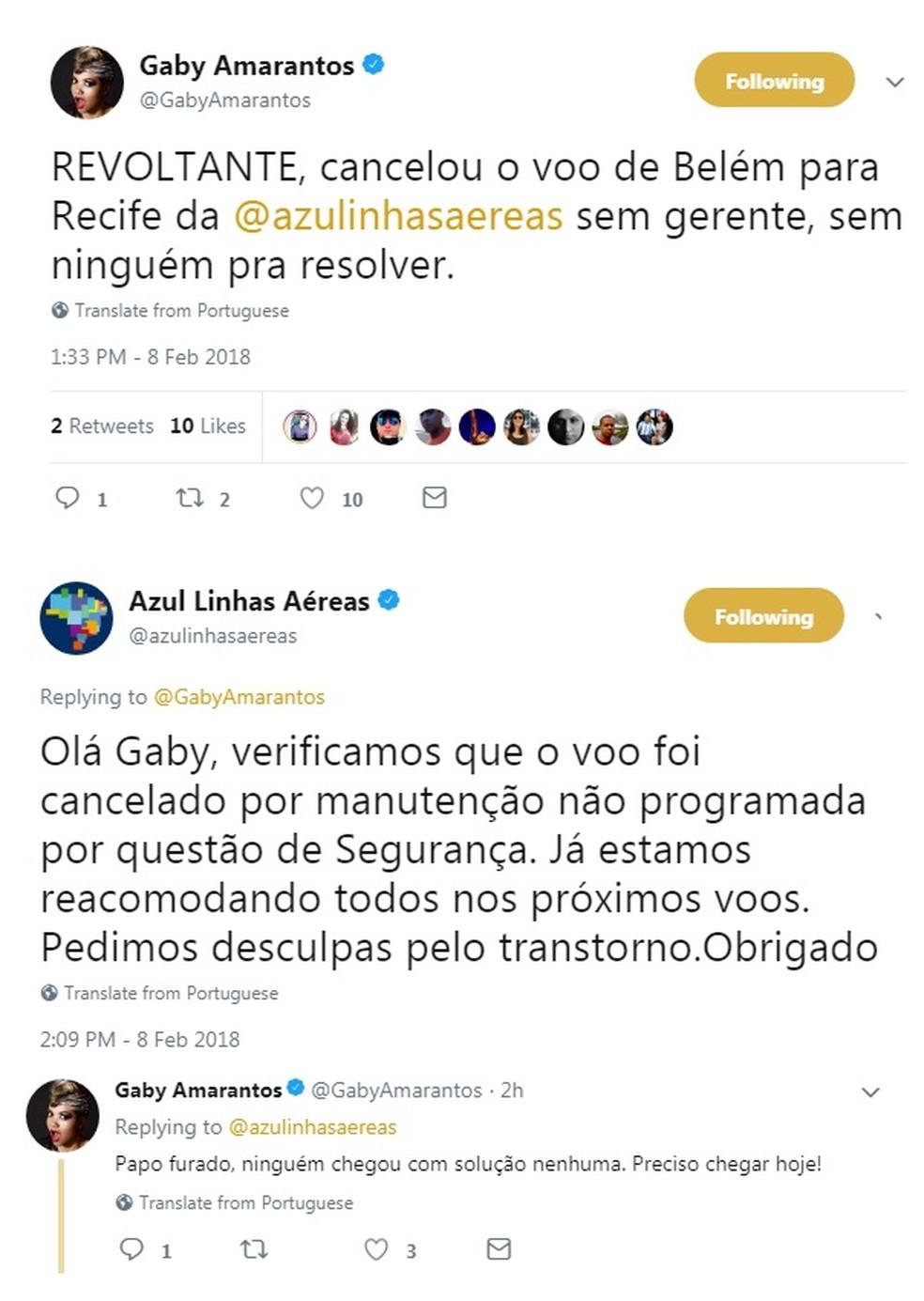 """Empresa responde às mensagens da cantora nas redes sociais. Gaby returcou: """"Papo furado, ninguém chegou com solução"""". (Foto: Reproduçao / Twitter)"""