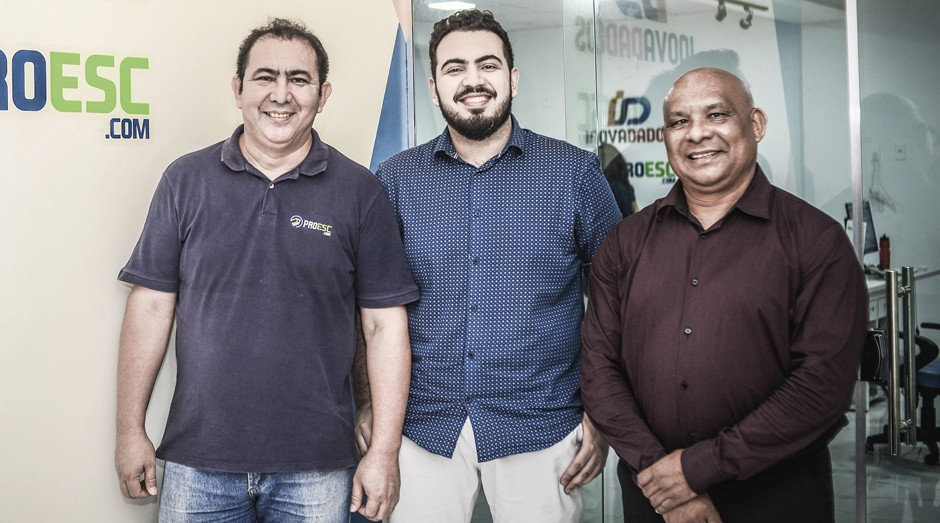 Os sócios Lindomar Góes Ferreira, Felipe Ferreira e Elias Teixeira (Foto: Erich Macias)