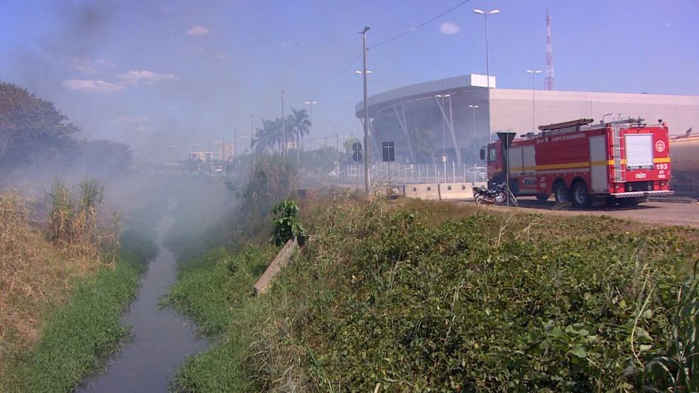 Corpo de Bombeiros realizou o combate ao incêndio no Parque da Cidade — Foto: Ruan Gabriel/Rede Amazônica