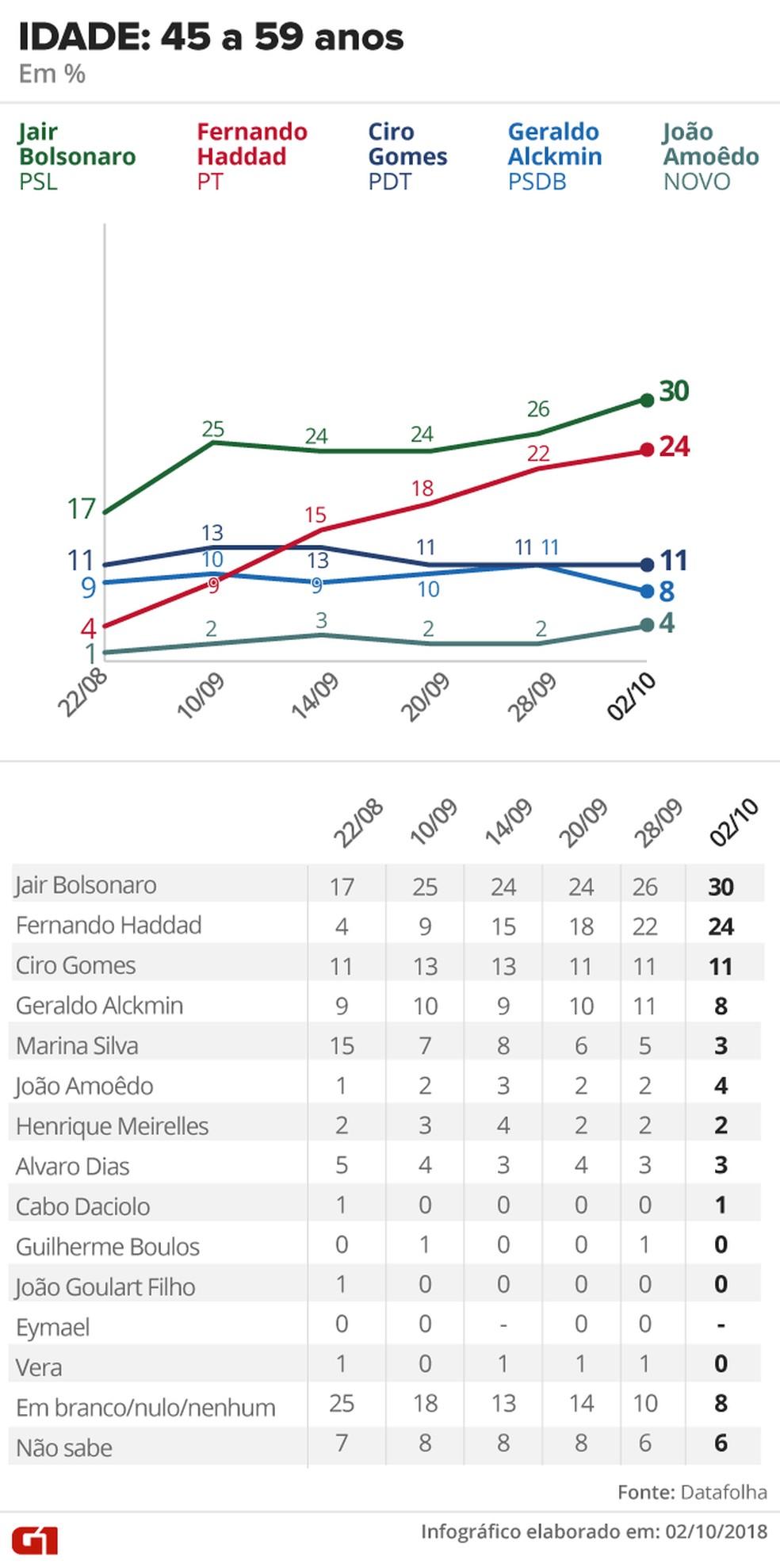 Pesquisa Datafolha - 2 de outubro - intenção de voto por segmentos - idade 45 a 59 anos — Foto: Arte/G1